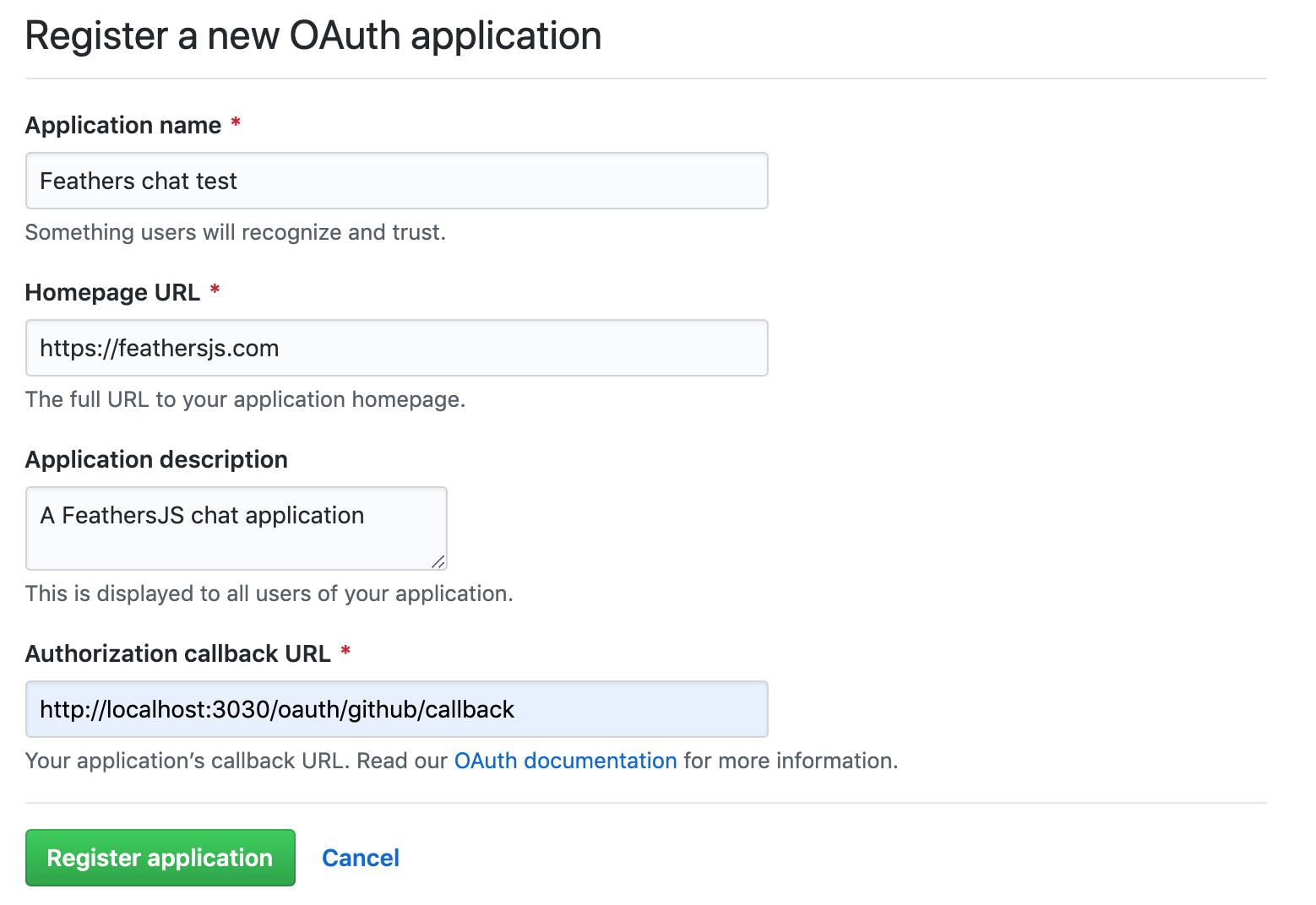 Screenshot of the GitHub application screen